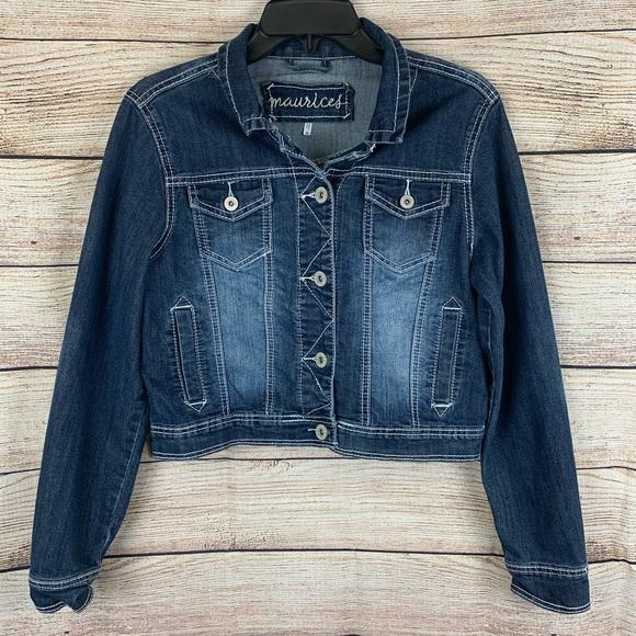 Maurices Jackets & Blazers - Maurices Dark Wash Cropped Denim Jacket Size M